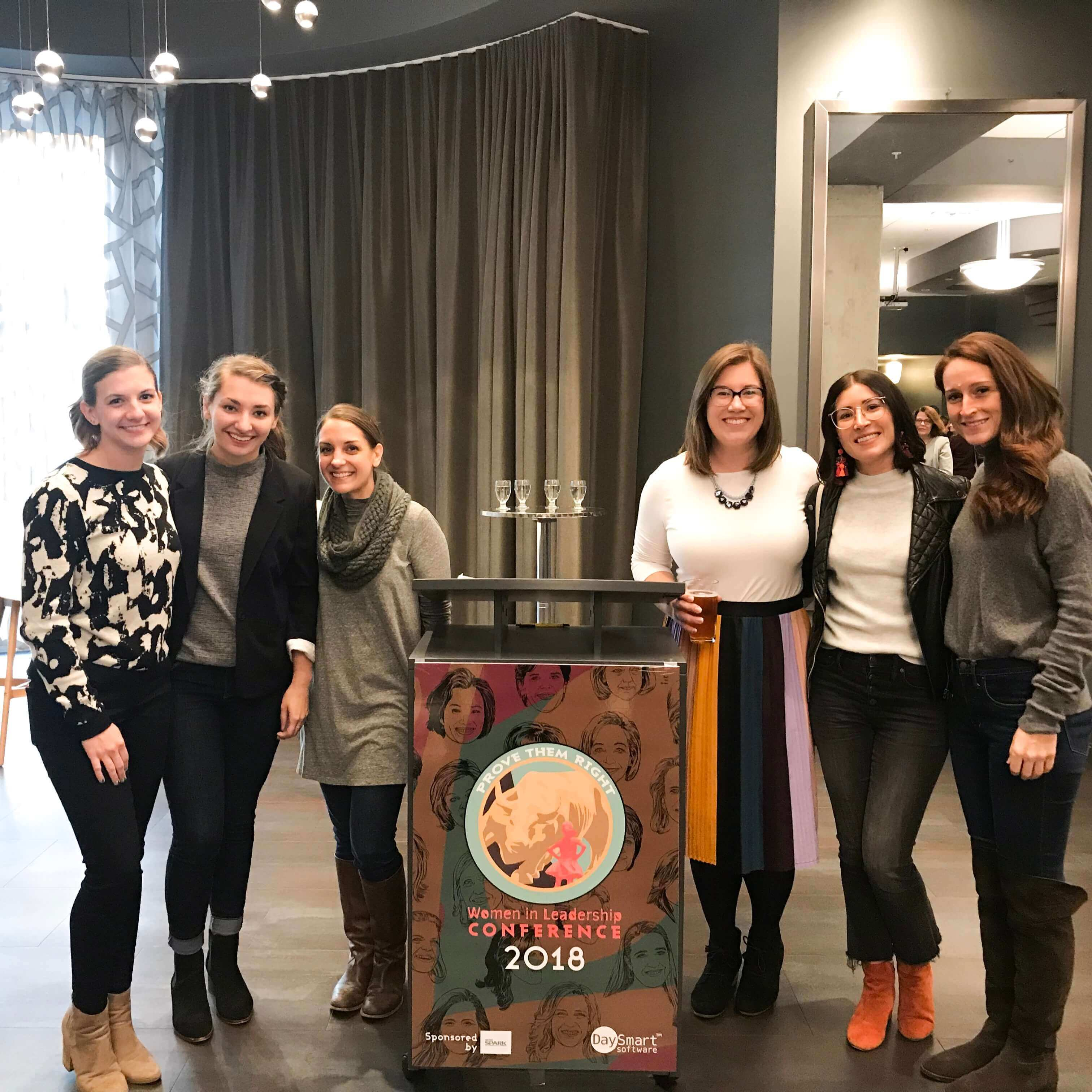 Kristen Violetta, Maria Newton, Andi Nank, Marissa, McIntire, Grace Winkel, and Stephanie Lucido at the Women in Leadership Conference 2018